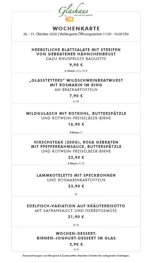 """Wochenspeisekarte """"Glashaus"""" in der Markthalle"""