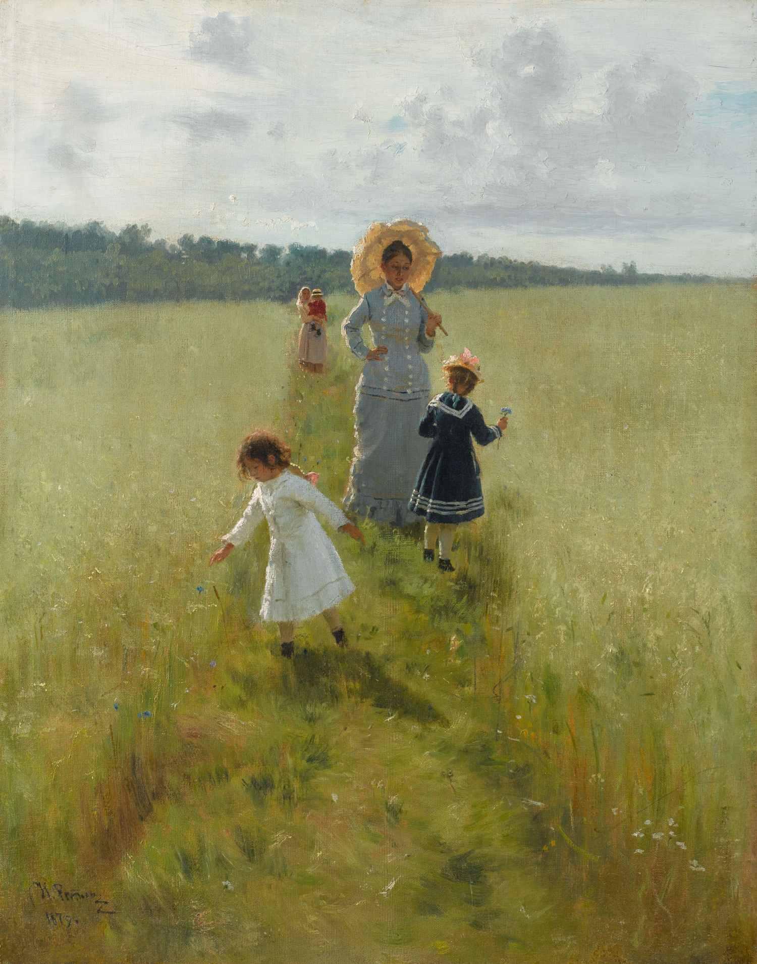 Ilja Repin, Auf dem Feldweg. Wera Repina mit ihren Kindern, 1879